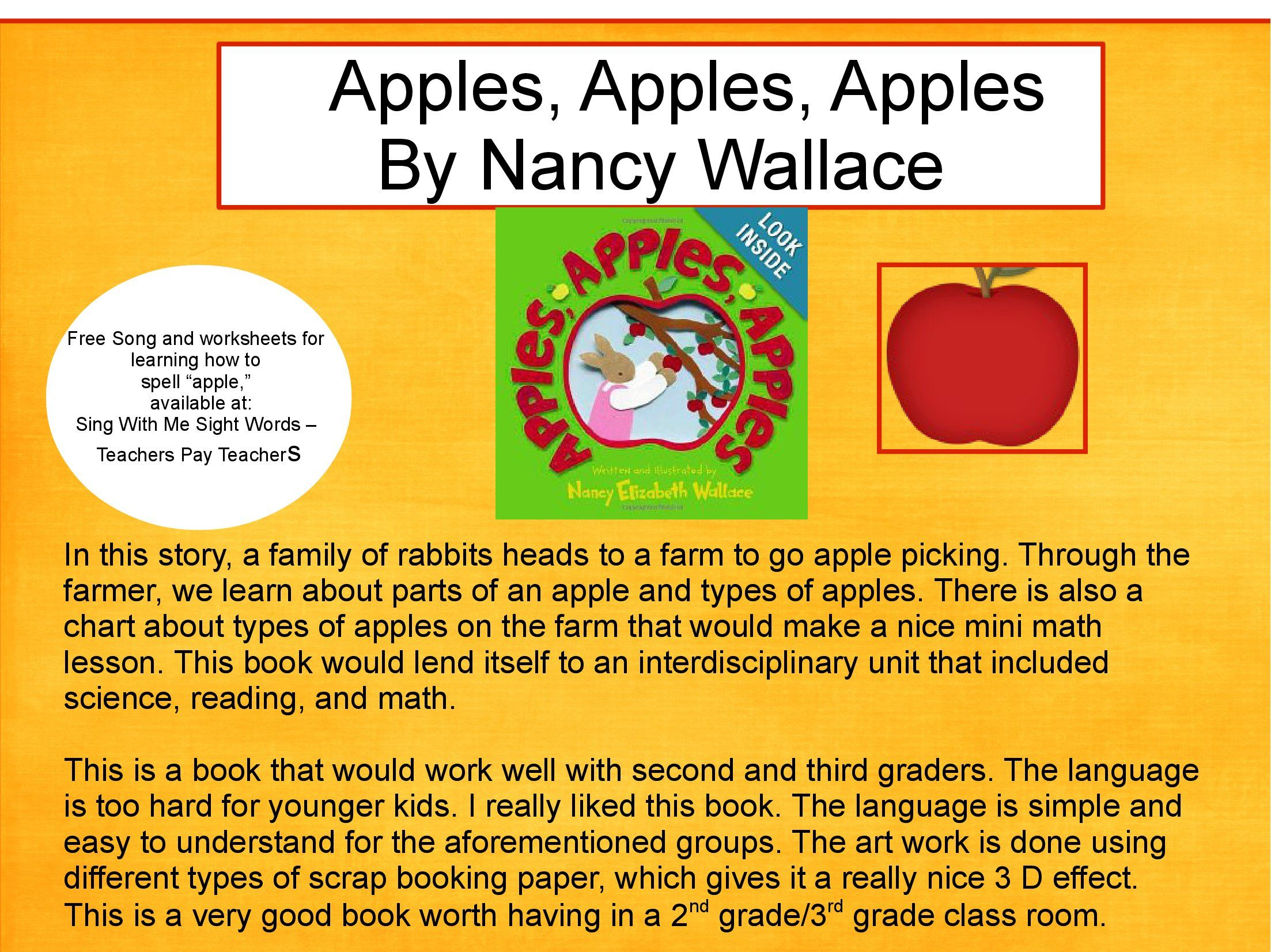 Book About Apple Picking For 2nd 3rd Grade