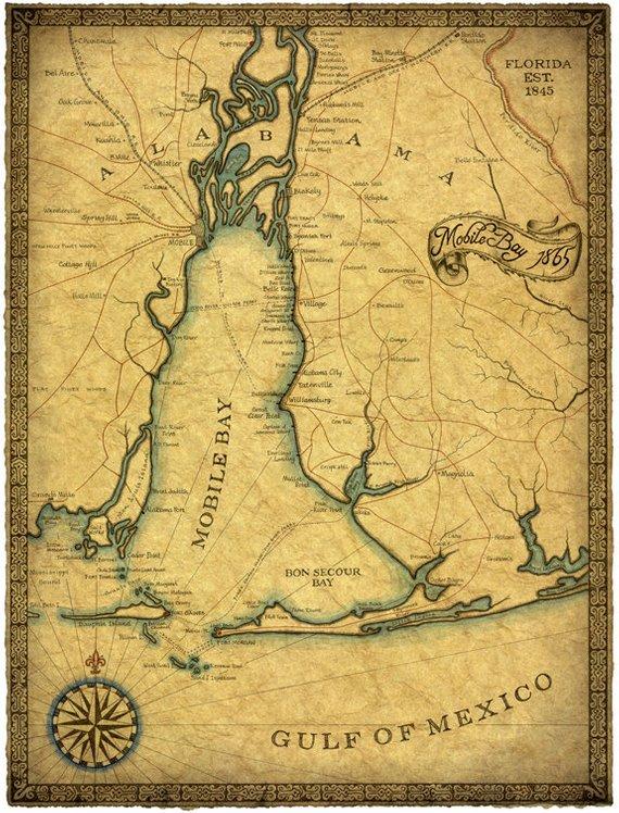 Mobile Bay Map Art, c. 1865 - 14