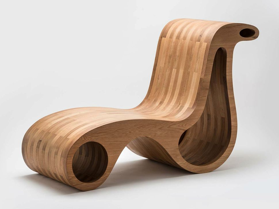 Unique Wood Tone Chair and Chaise LoungeDesign by Giorgio