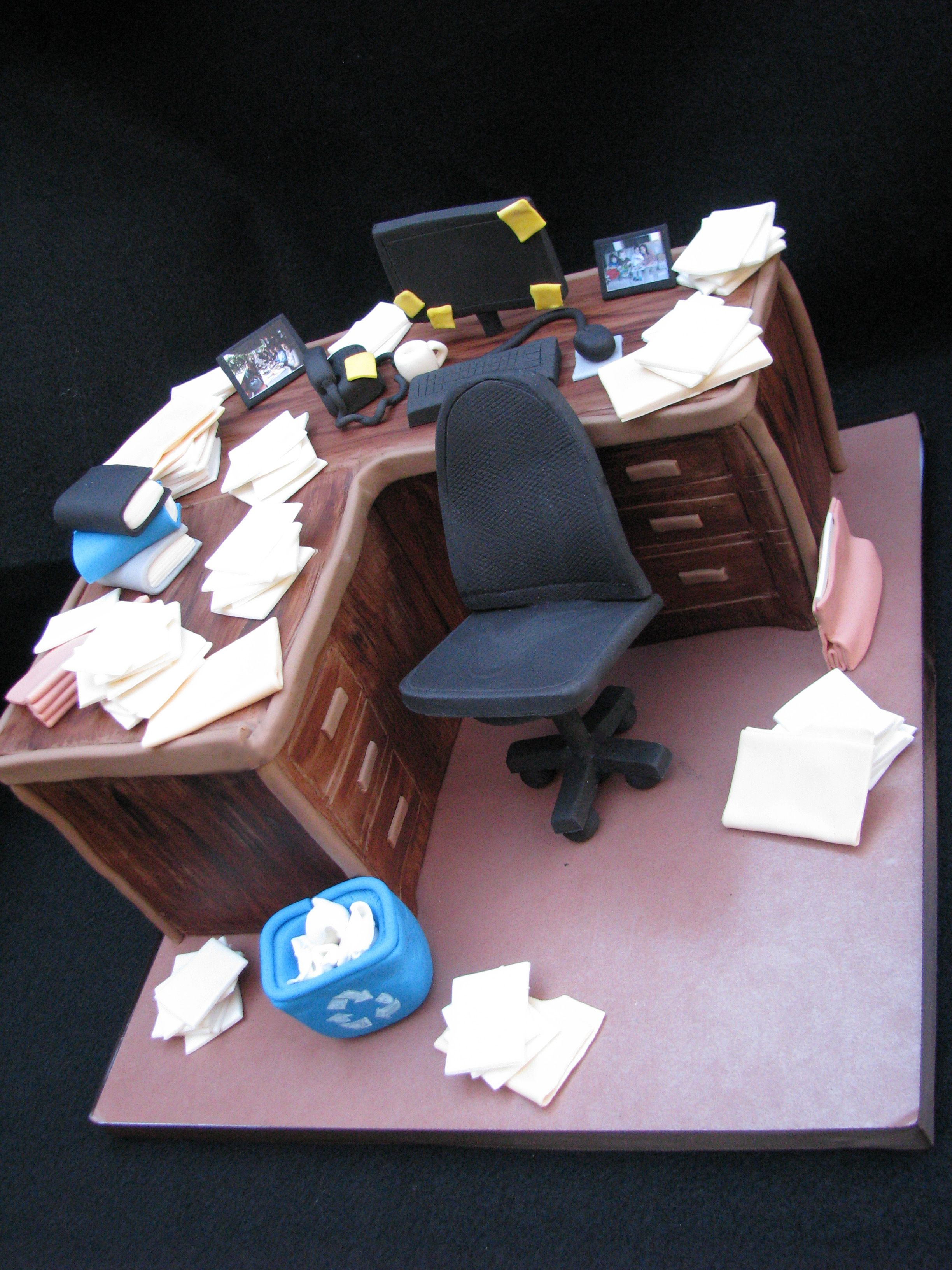 Retirement Desk Cake He Is Known For His Messy Desk This Was