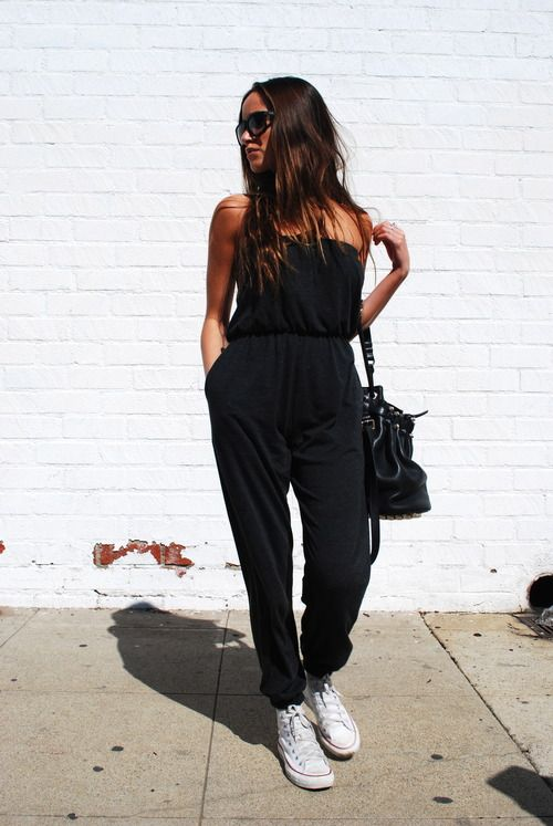 90817e13f495 black  jumpsuit and  converse