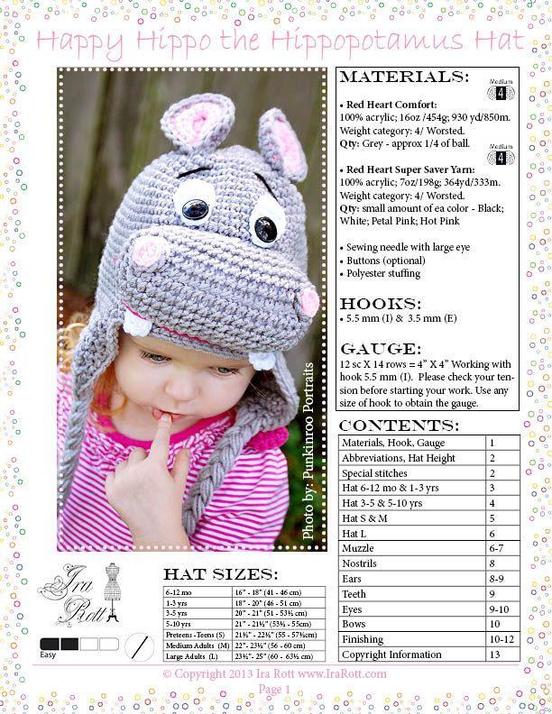Happy Hippo the Hippopotamus Hat PDF Crochet Pattern | Hippo ...