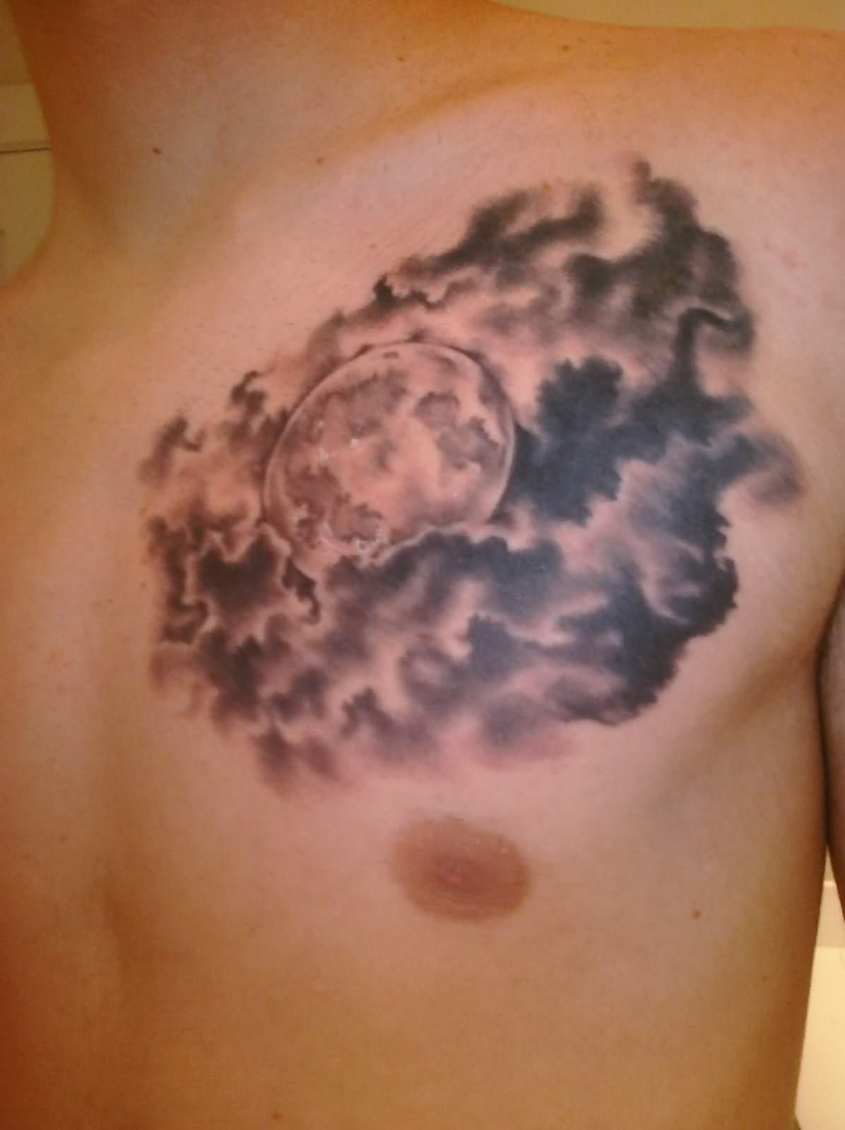 Realistic Moon Tattoo With Clouds Full Moon Clouds Tattoo Related Cloud Tattoo Full Moon Tattoo Moon Tattoo