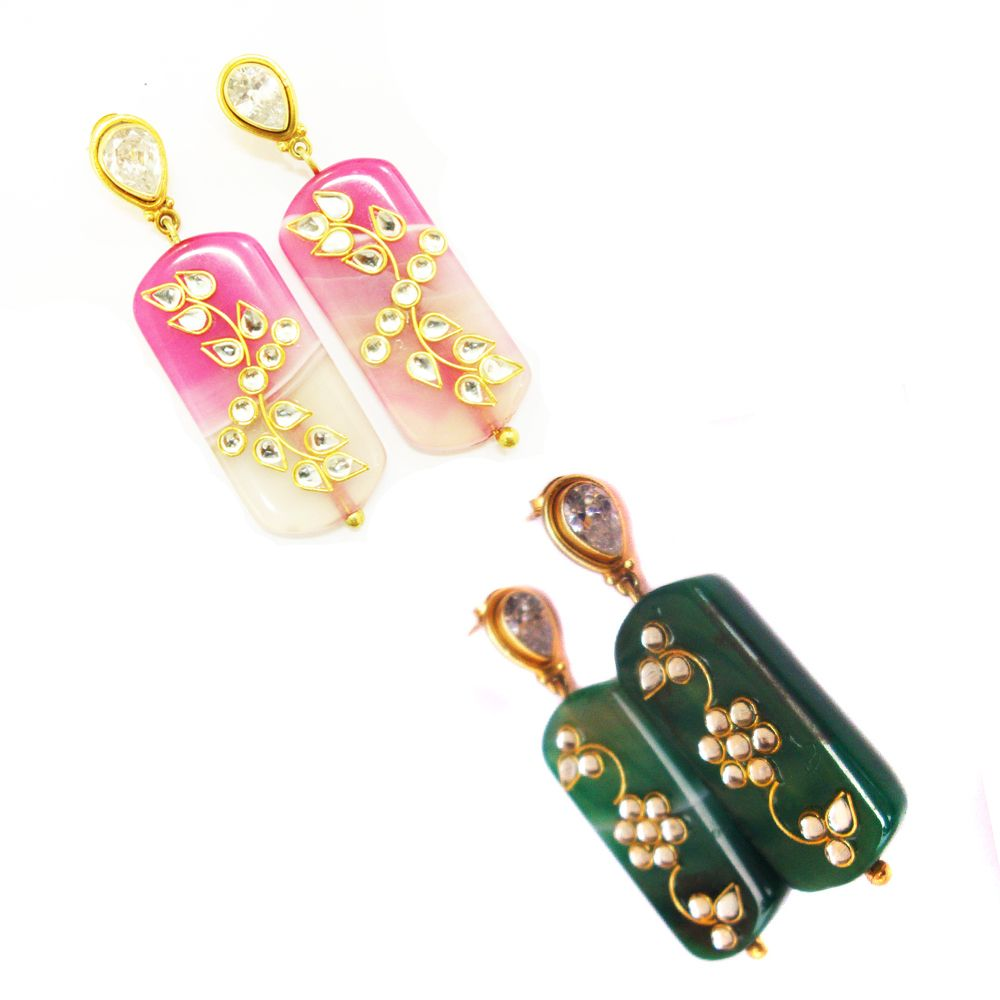 925#Sterling#Silver#India#Agate#And3#Quartz#Natural#Stud#Earring ...