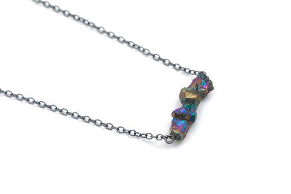 Rainbow pyrite gemstone necklace with oxidized by Trostdesign