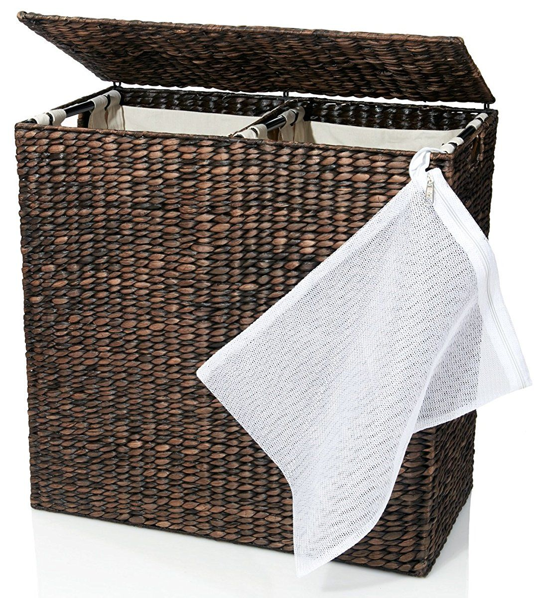 Designer Wicker Laundry Hamper With Divided Interior And Laundry