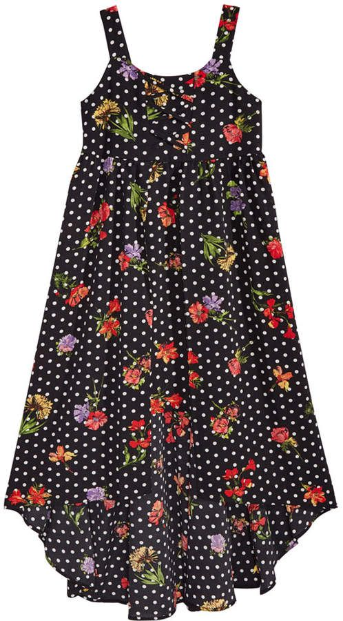 0b5929c28ae Sequin Hearts Floral-Print Lace-Up Maxi Dress