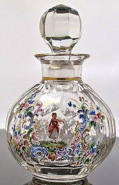 Enameled glass perfume bottle
