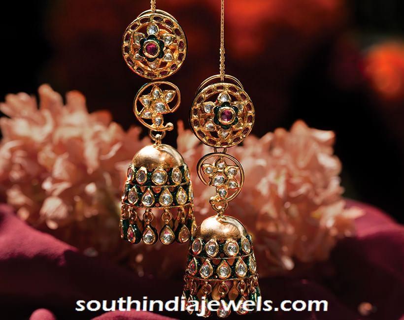 9b97ec006 Kundan Jhumka from Tanishq ~ South India Jewels Diamond Earrings, Drop  Earrings, Wooden Jewelry