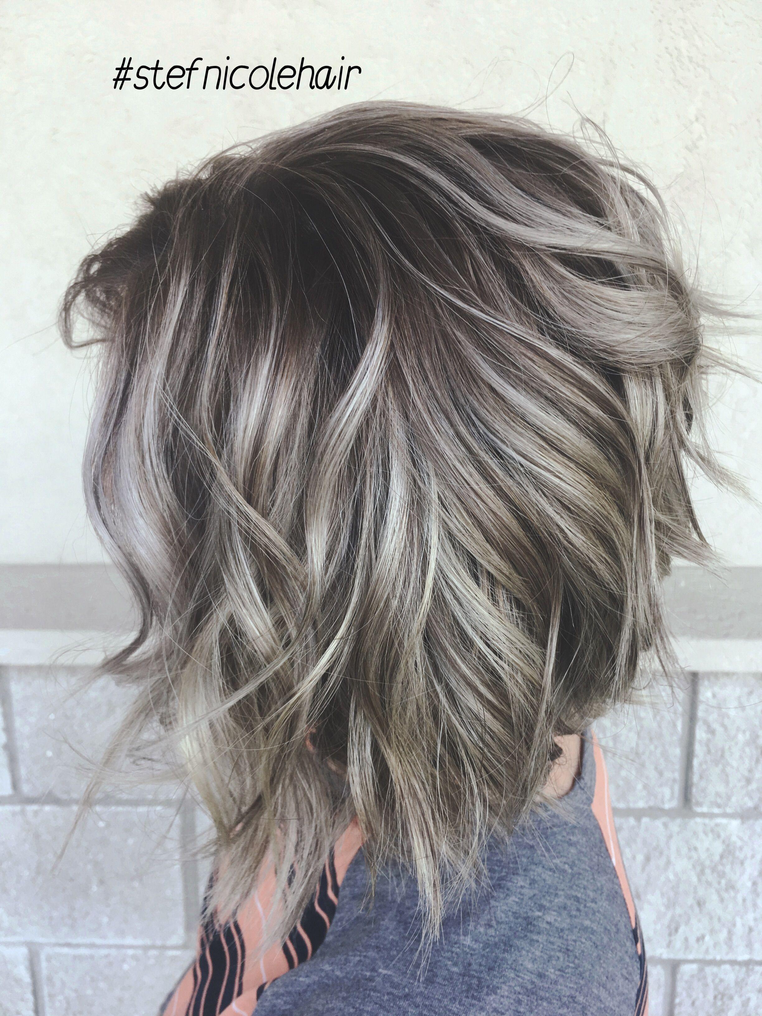 Silver Hair Balayage Smudge Root Hair Styles Choppy Bob Hairstyles Balayage Hair