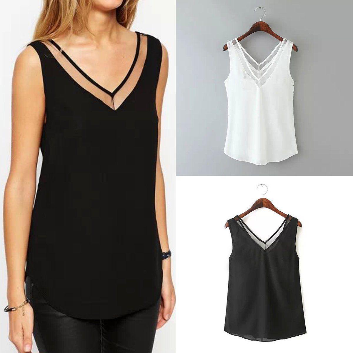 d631bb77d61 Women Summer Chiffon Sleeveless Shirt Loose Fashion Blouse Casual Tank Tops  Vest