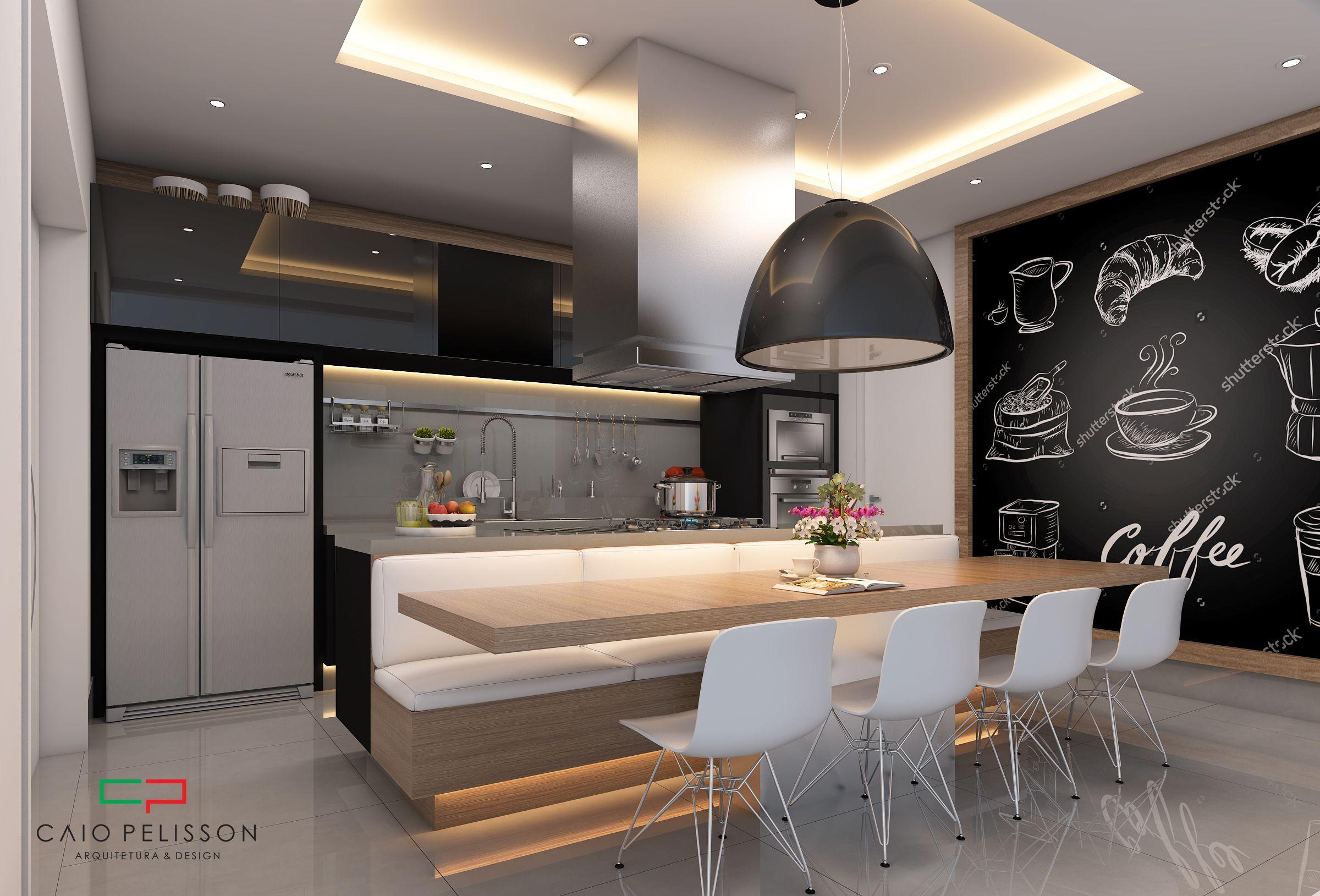 Projeto De Cozinha Com Cores S Brias E Uma Ilha Com Sof Mesa E Um