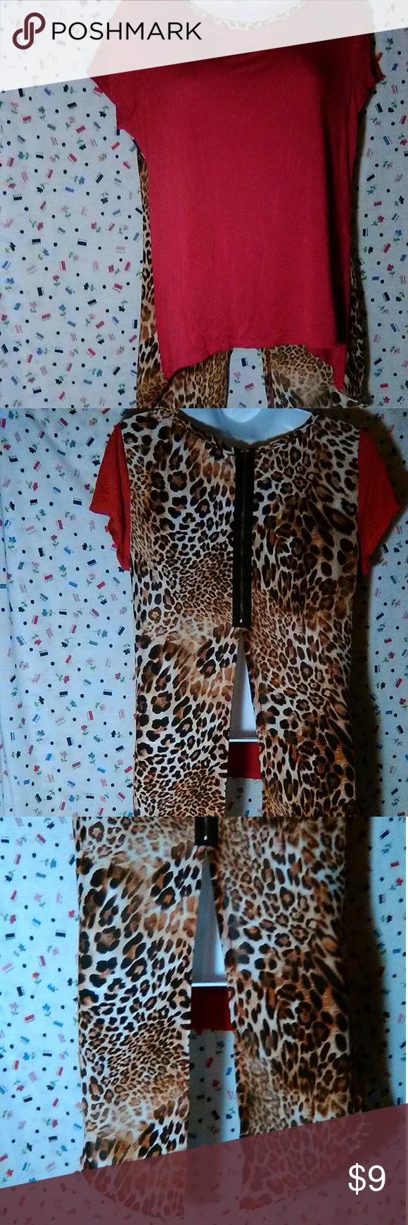 Discreet Red soft cotton material in front, leopard spot in back ...