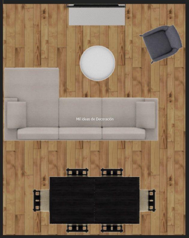 20 formas de distribuir un salón comedor rectangular | Cada ...