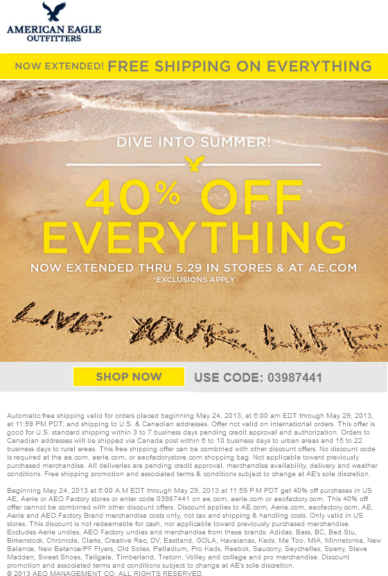 Pinned May 28th: 40% off everything at American Eagle ...