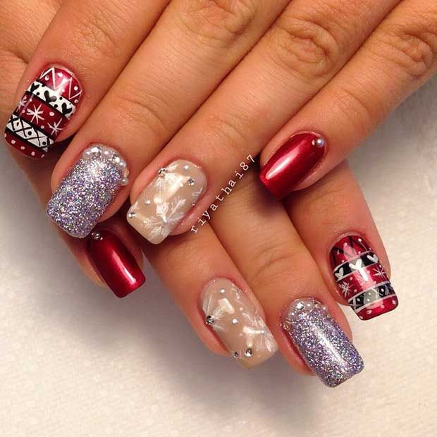 29 easy winter and christmas nail ideas winter makeup and nail nail 29 easy winter and christmas nail ideas prinsesfo Images