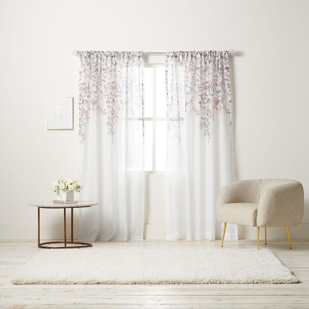 LC Lauren Conrad White Prim Sheer Window Curtain