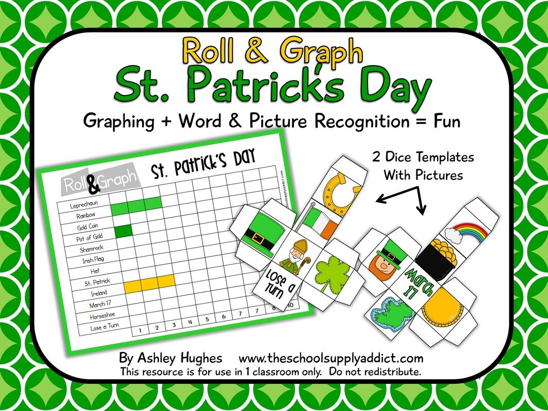 Free Roll Amp Graph Activity For St Patrick S Day K 2nd Efl