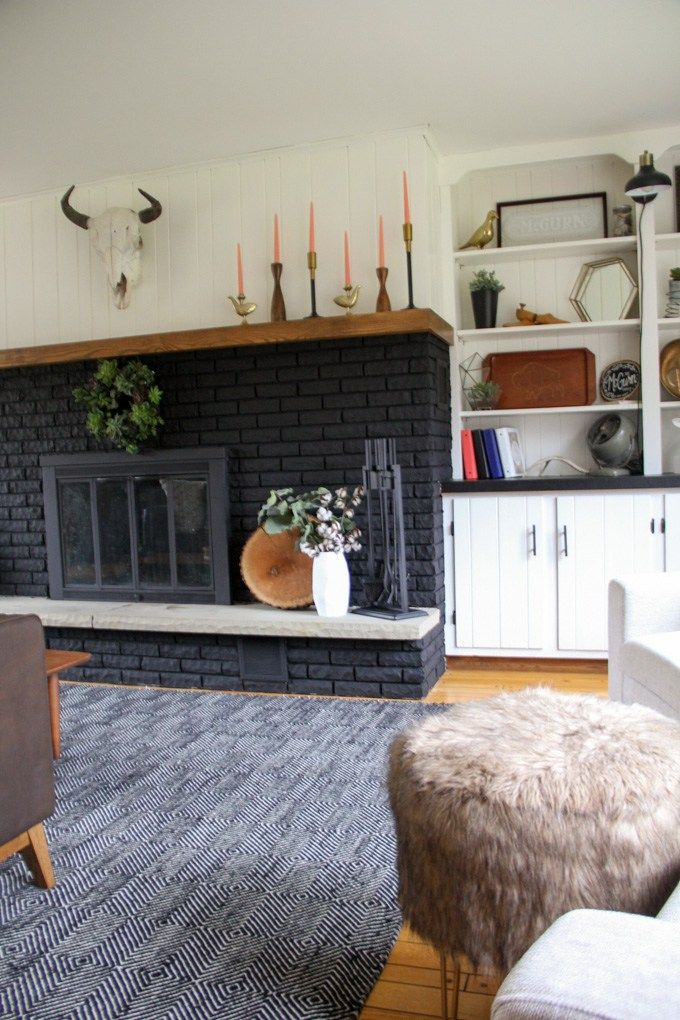 Our Black Painted Fireplace Living Room With Fireplace Living Room Remodel Brick Fireplace Makeover