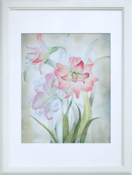 Анна Чепель. Гиппеаструмы, 2001. Розовые цветы с листьями на сероватом фоне. ______________________________Anna Chepel. Hippeastrums, 2001. Pink flowers on the grey background.