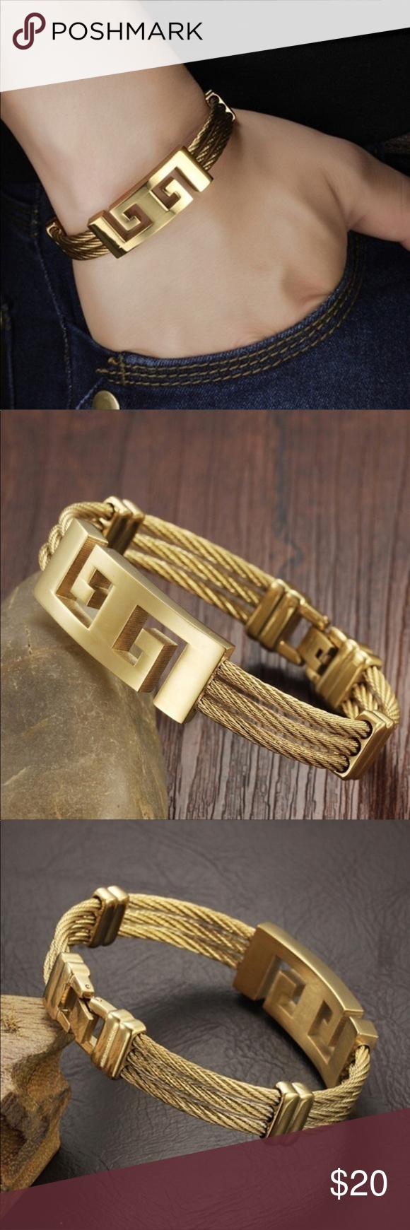 Gg k gold plated titanium steel bracelet unisex