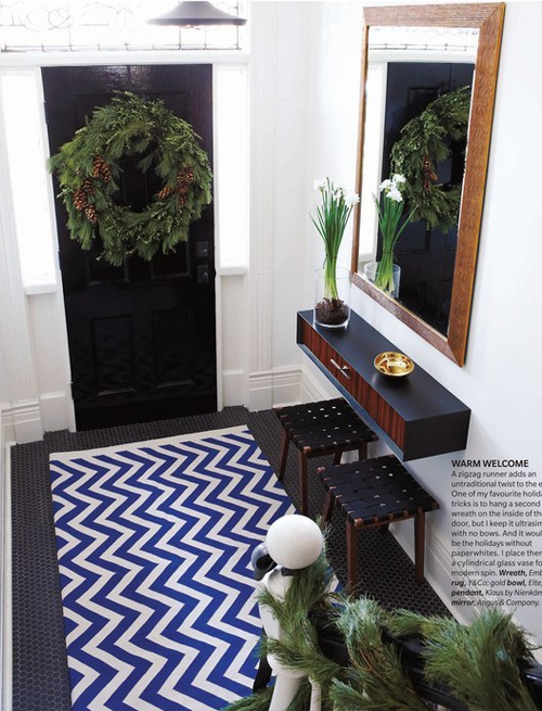 Contemporary Hip Look With Chevron Rug And Mounted Foyer Shelf