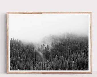 Awesome Black And White Print,Horizontal Wall Art,Forest Print,Scandinavian  Print,Scandinavian