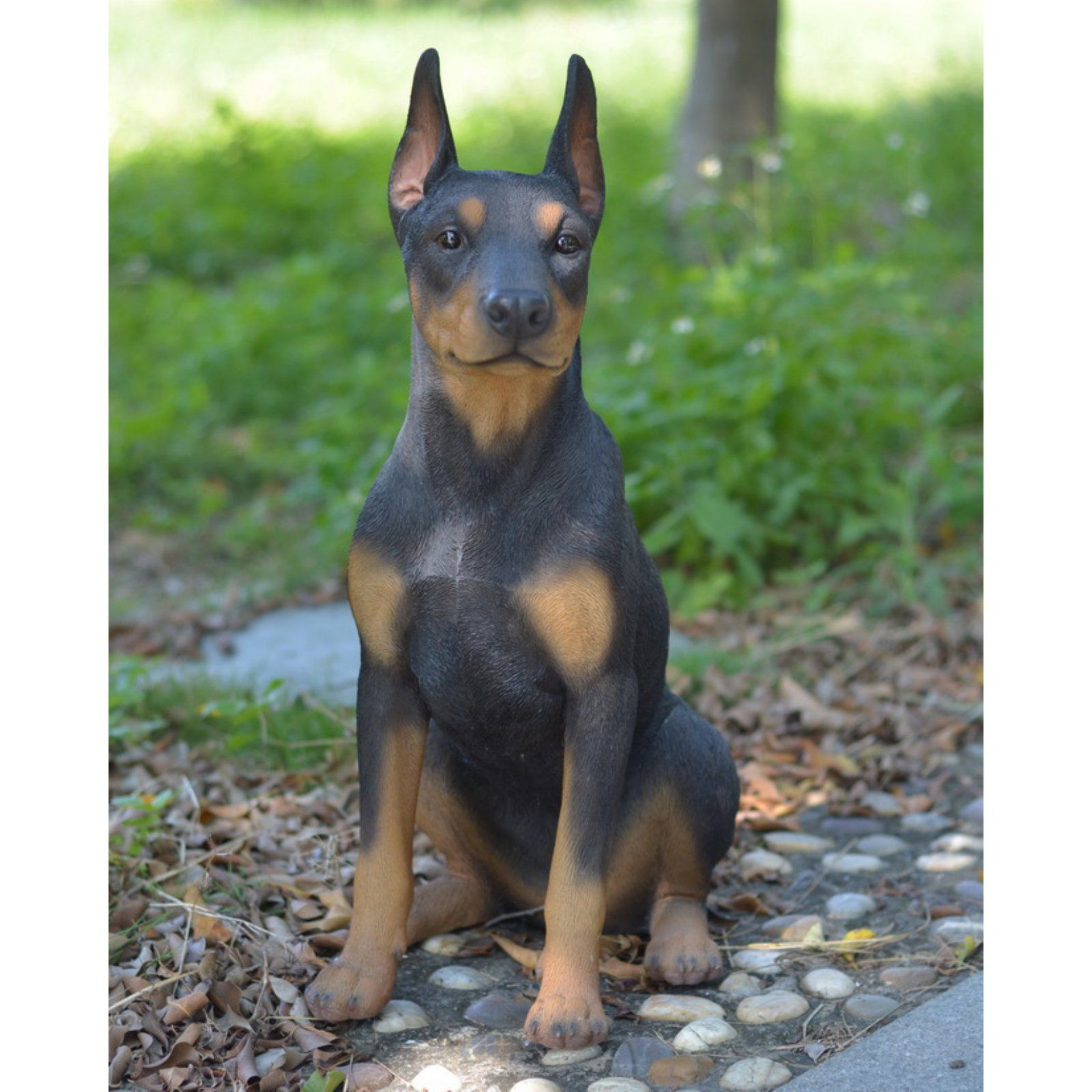 Hi Line Gift Ltd Sitting Doberman Pinscher Dog Garden Statue