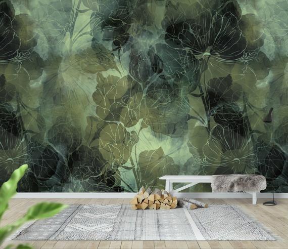 Tropical Wallpaper Self Adhesive Peel And Stick Dark Green Etsy In 2020 Tropical Wallpaper Wallpaper Leaf Wallpaper