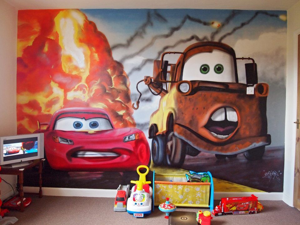 Disney themed kids rooms cars disney bedroom graffiti for Disney car bedroom ideas