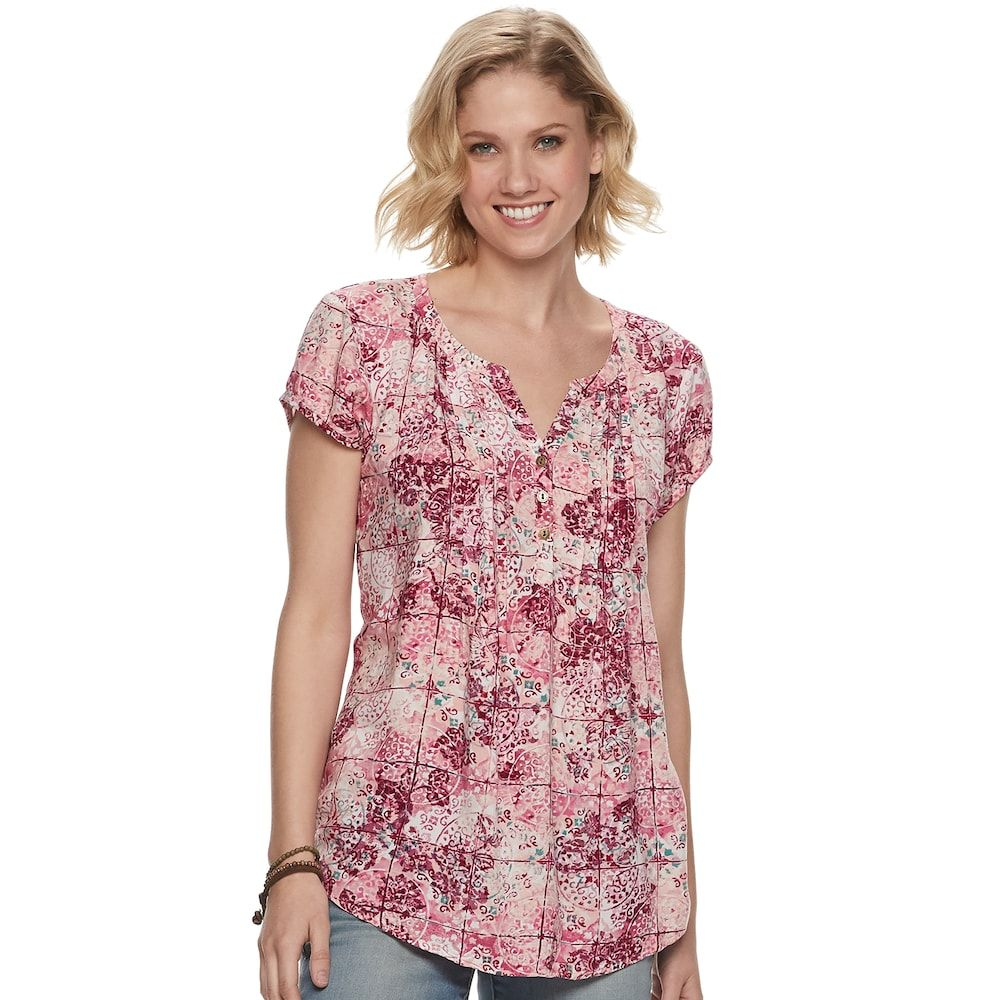 """2347098b79af34 Petite SONOMA Goods for Lifeâ""""¢ Pintuck Tee, Women's, Size: L Petite, Dark  Red"""