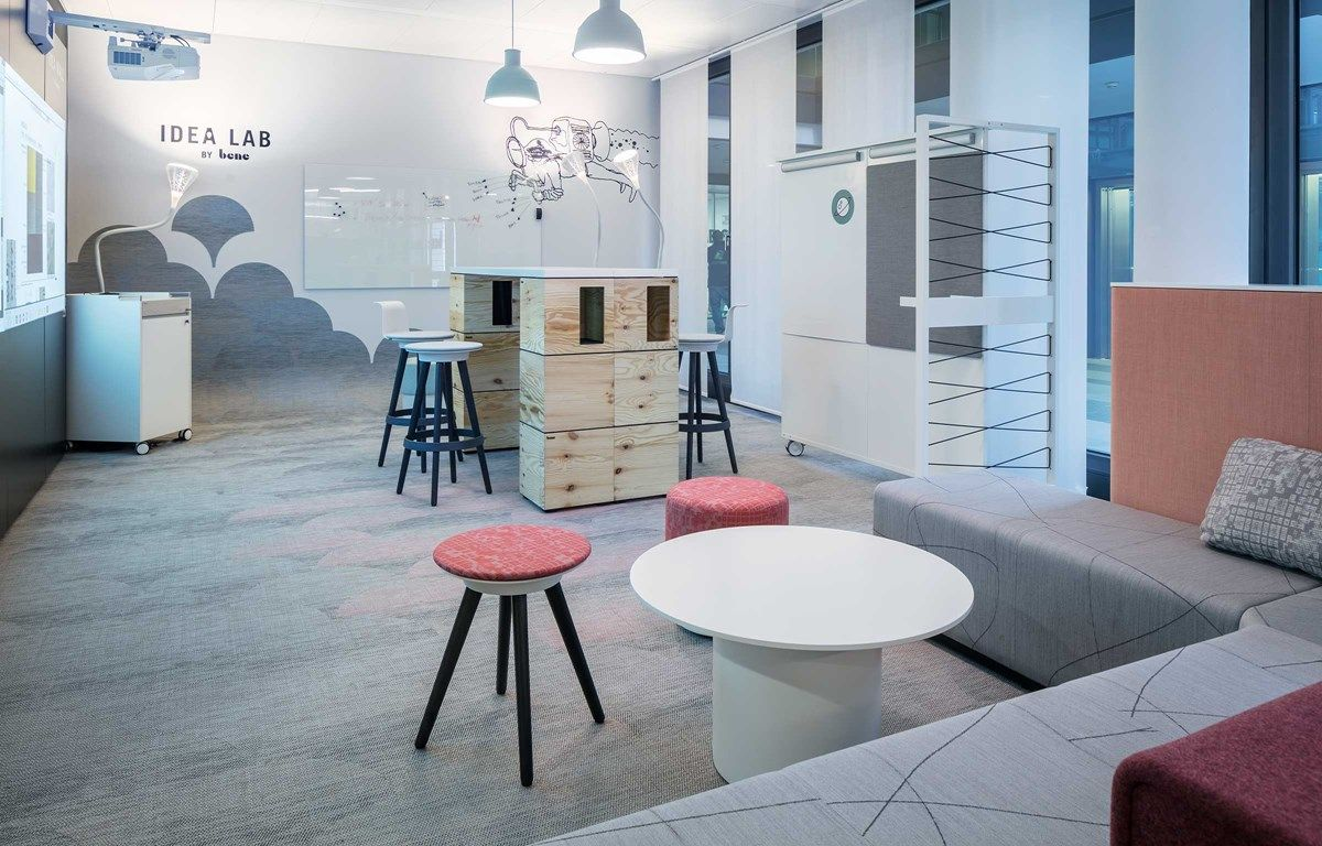 Bene Showroom with Flow Stream and Coral in Bolon Studio© Scale ...