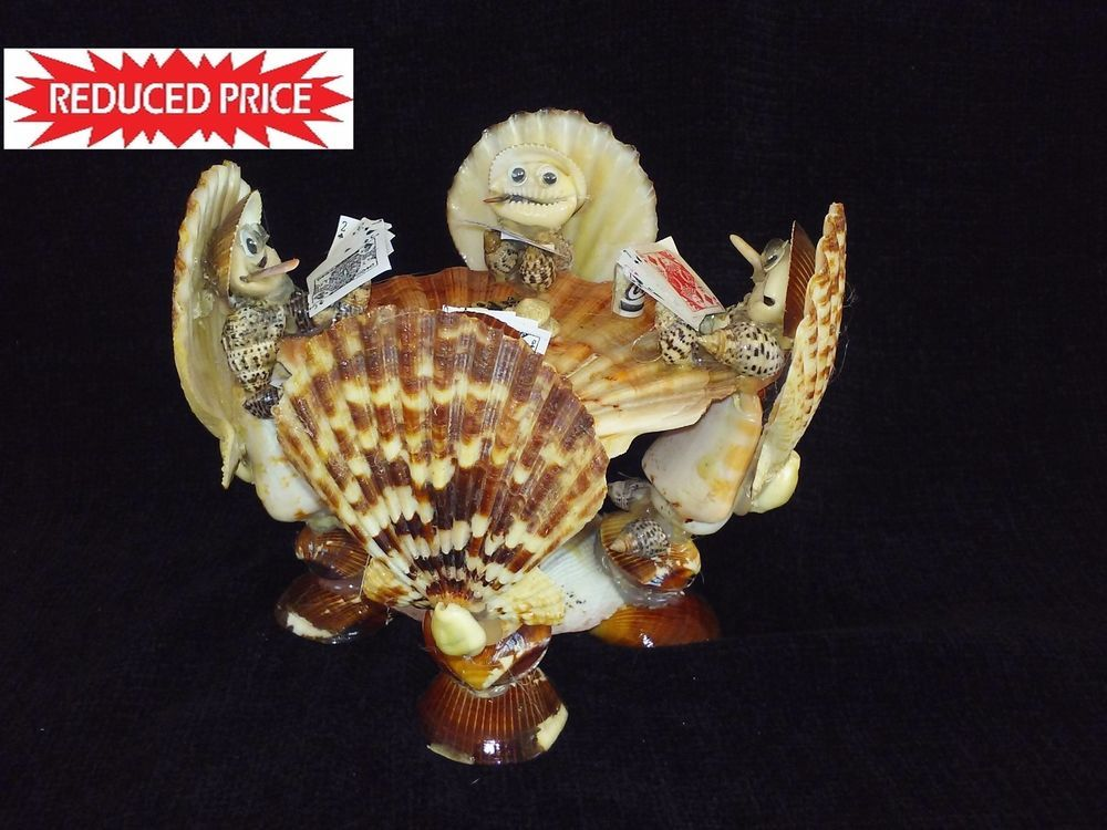 """Authentic Sea Shell Figurine """"Four Frog Playing Poker"""" . Buy 1 get 2nd 30% Off"""