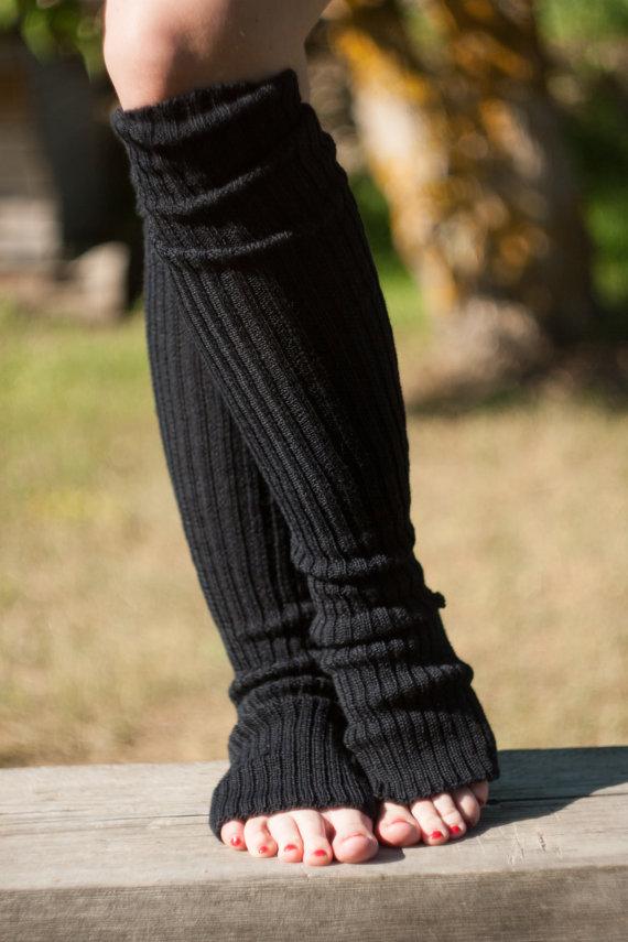 84e9976e7df Black Yoga Socks. Super long leg warmers. Gift for Her. Yoga Health FItness
