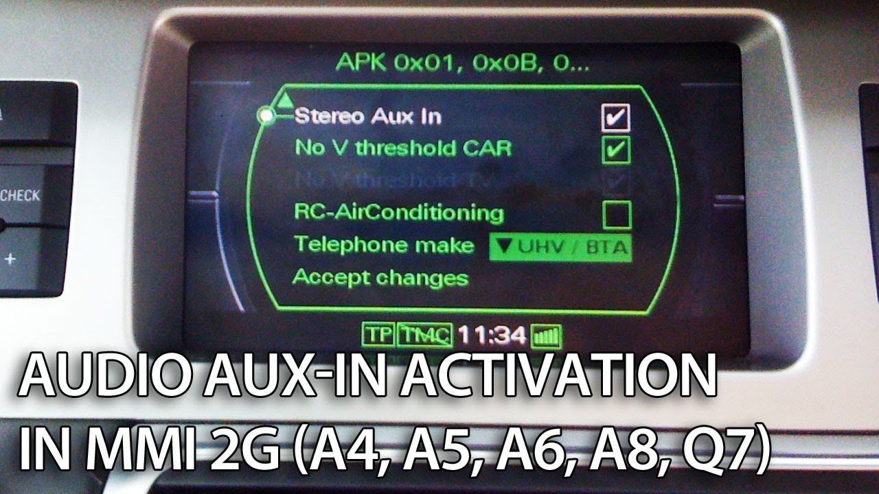 How to enable audio AUX in Audi MMI 2G (A4, A5, A6, A8, Q7) stereo