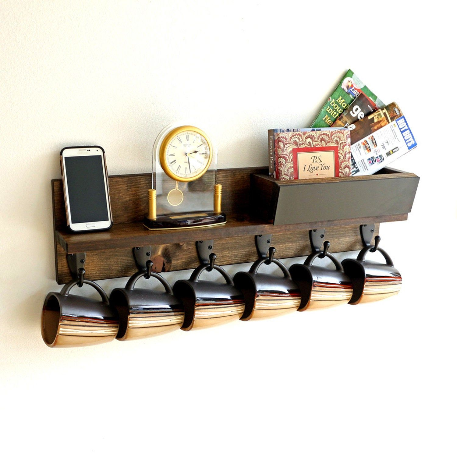 Rustic Wood Coffee Mug Rack Wall Mounted Coffee Cup