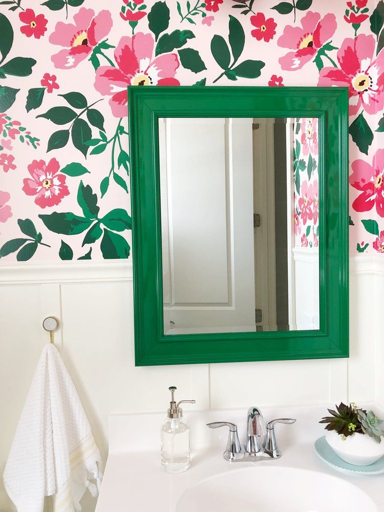 Bathroom Makeover Final Reveal With Custom Wallpaper In Pink And