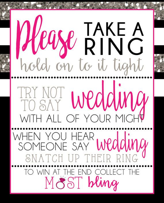 please take a ring game download black pink and silver glitter bridal shower print your own diy wedding decoration