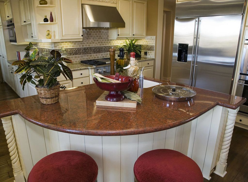 Malibu Red Granite Kitchen Countertop Antique Kitchen Cabinets Kitchen Backsplash Inspiration Curved Kitchen