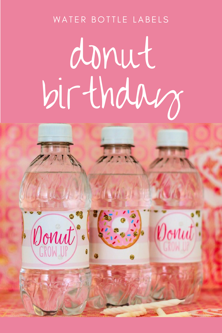 Donut Water Bottle Labels - Donut First Birthday Favors - Doughnut ...