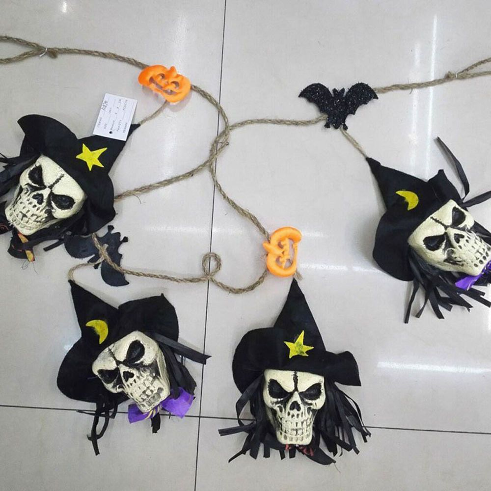 Halloween Skeleton Skull Head Garland String Rope Barb Wire Pumpkin ...
