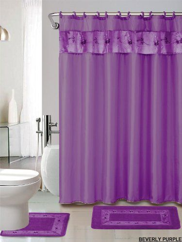 4 Piece Luxury Embroidered Bath Rug Set 3 Piece Purple Bathroom Rugs With Fabric Shower Curtain And Matching Rin