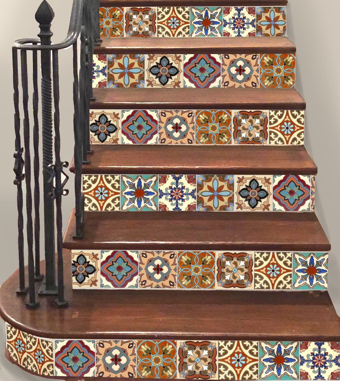 stair riser stickers looks like real mexican talavera tiles just