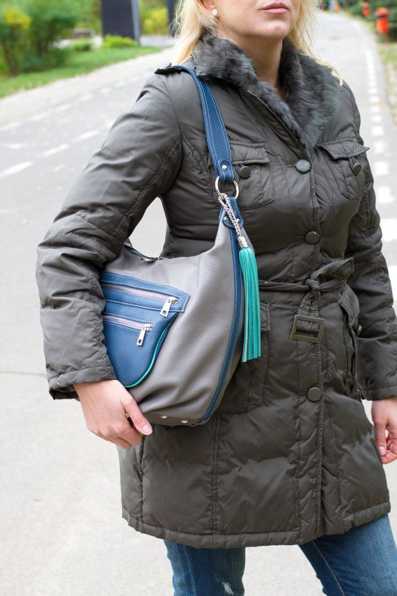 GRAY LEATHER  Hobo BAG Blue Leather Shoulder Bag Soft by CORYSBAGS