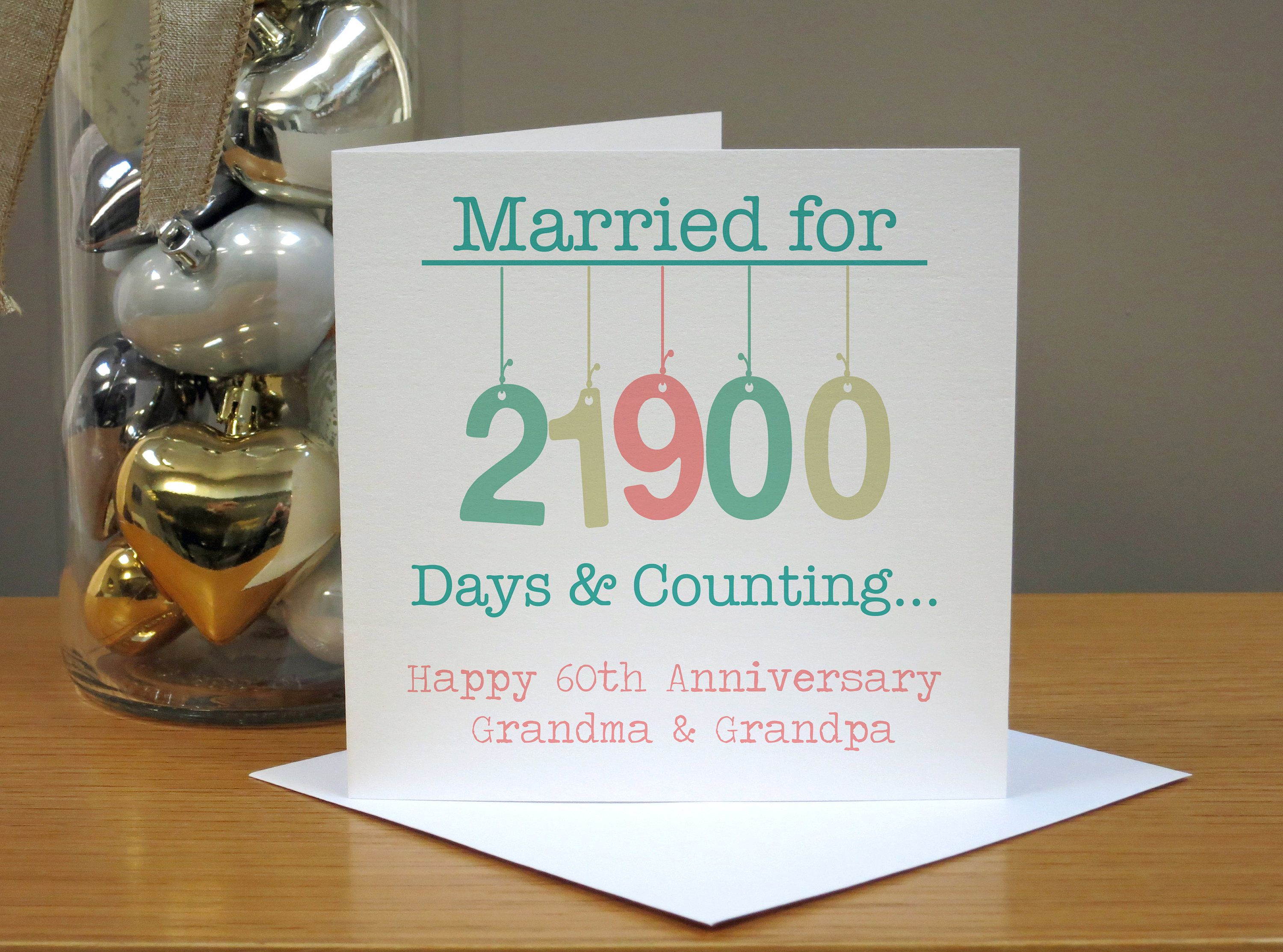 Personalised hanging 60th wedding anniversary card diamond 60th anniversary card a beautiful and meaningful 60th anniversary card featuring a days countdown and m4hsunfo
