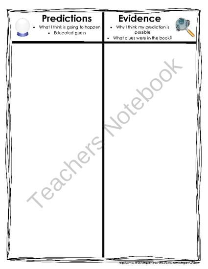 Predictions and Evidence T Chart from Miss Cramer\u0027s Resource Corner
