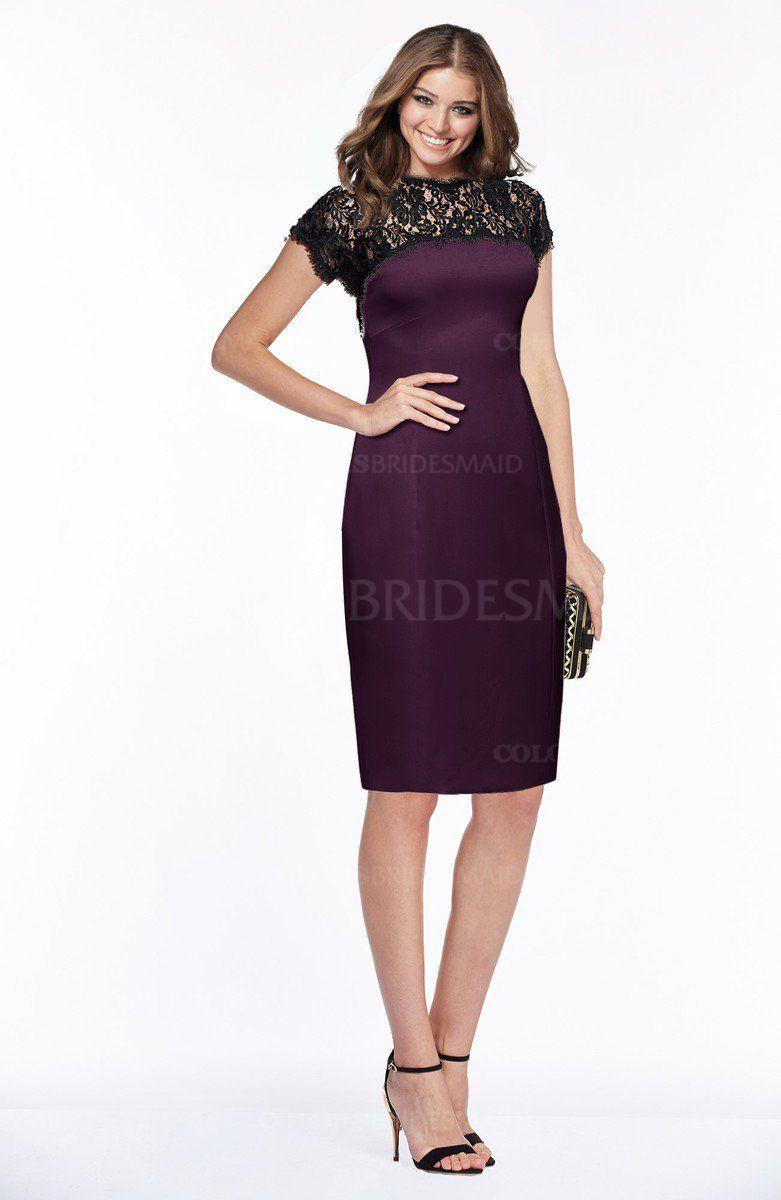Plum elegant sheath short sleeve zip up satin lace bridesmaid