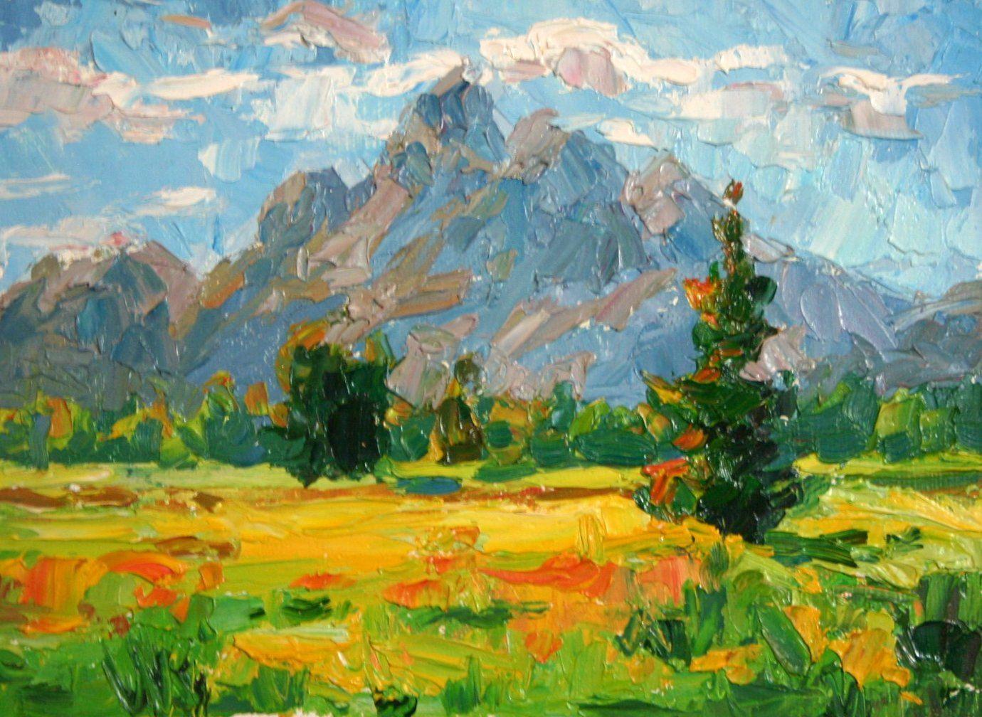 landscape impressionism Oil pastel art, Painting, Art