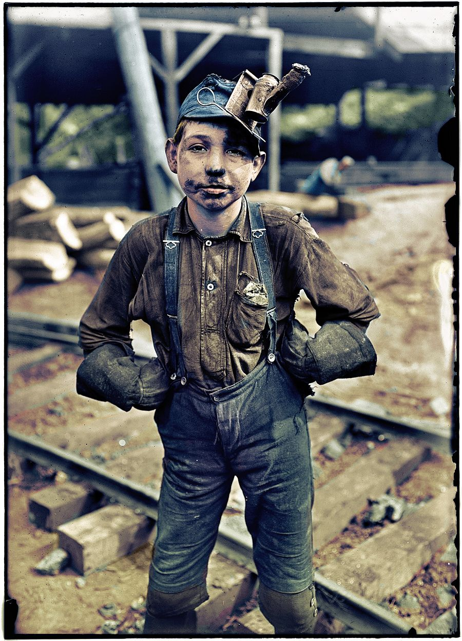 """August 1908. Tipple boy at the Turkey Knob coal mine in Macdonald, West Virginia. Says the LOC: """"Patron identifies this as her grandfather, Otha Porter Martin, born July 3, 1897."""" Photograph by Lewis Wickes Hine."""