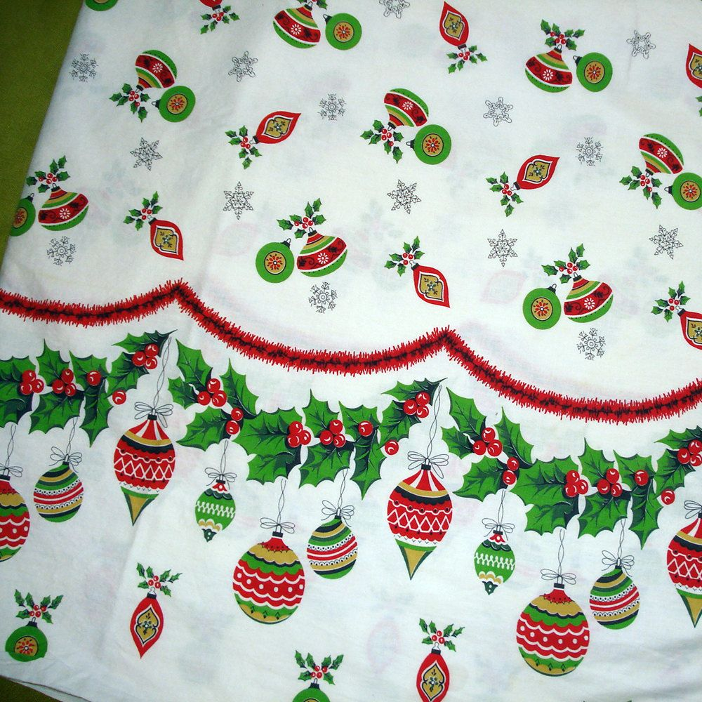 Vintage christmas decorations 1950s - 1950s Vintage Fabric Christmas Fabric Fifties Ornaments Border Print Cotton Yardage
